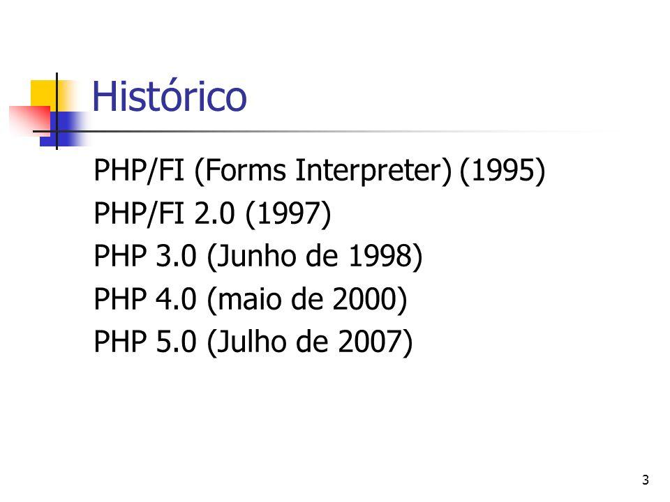 3 Histórico PHP/FI (Forms Interpreter) (1995) PHP/FI 2.0 (1997) PHP 3.0 (Junho de 1998) PHP 4.0 (maio de 2000) PHP 5.0 (Julho de 2007)
