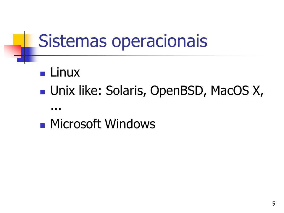 5 Sistemas operacionais Linux Unix like: Solaris, OpenBSD, MacOS X,... Microsoft Windows