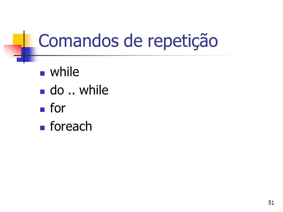 51 Comandos de repetição while do.. while for foreach