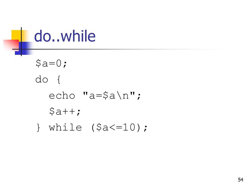 54 do..while $a=0; do { echo