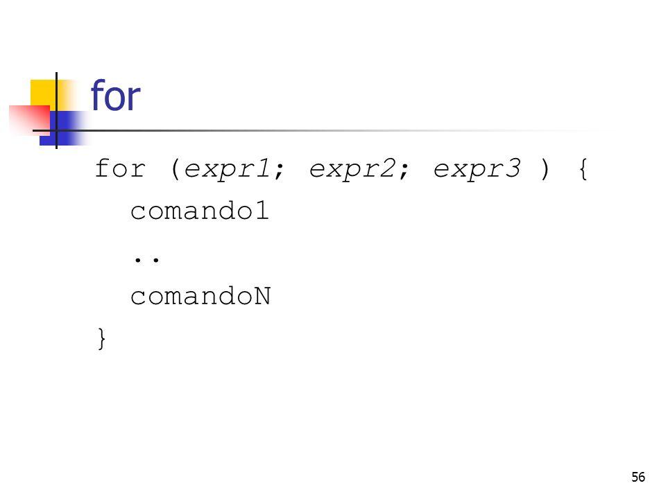 56 for for (expr1; expr2; expr3 ) { comando1.. comandoN }