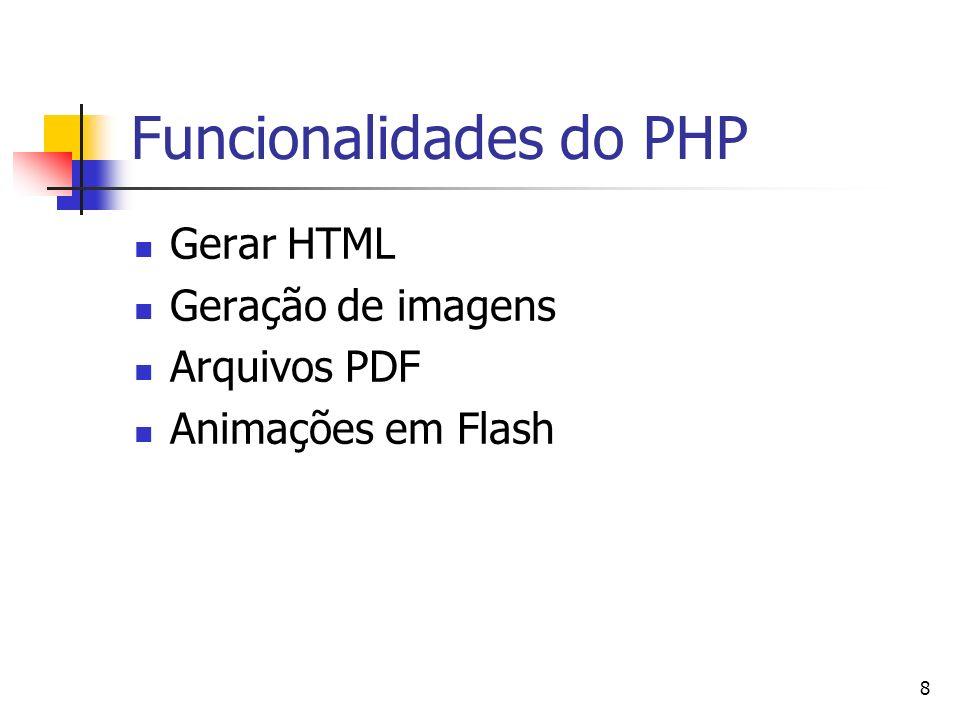 8 Funcionalidades do PHP Gerar HTML Geração de imagens Arquivos PDF Animações em Flash