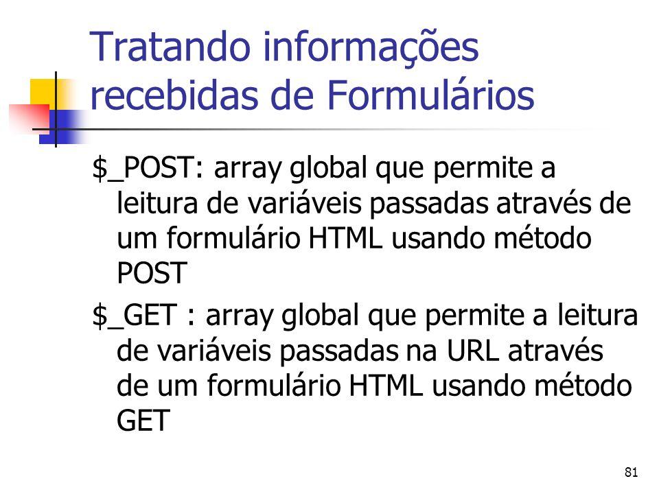 81 Tratando informações recebidas de Formulários $_POST: array global que permite a leitura de variáveis passadas através de um formulário HTML usando