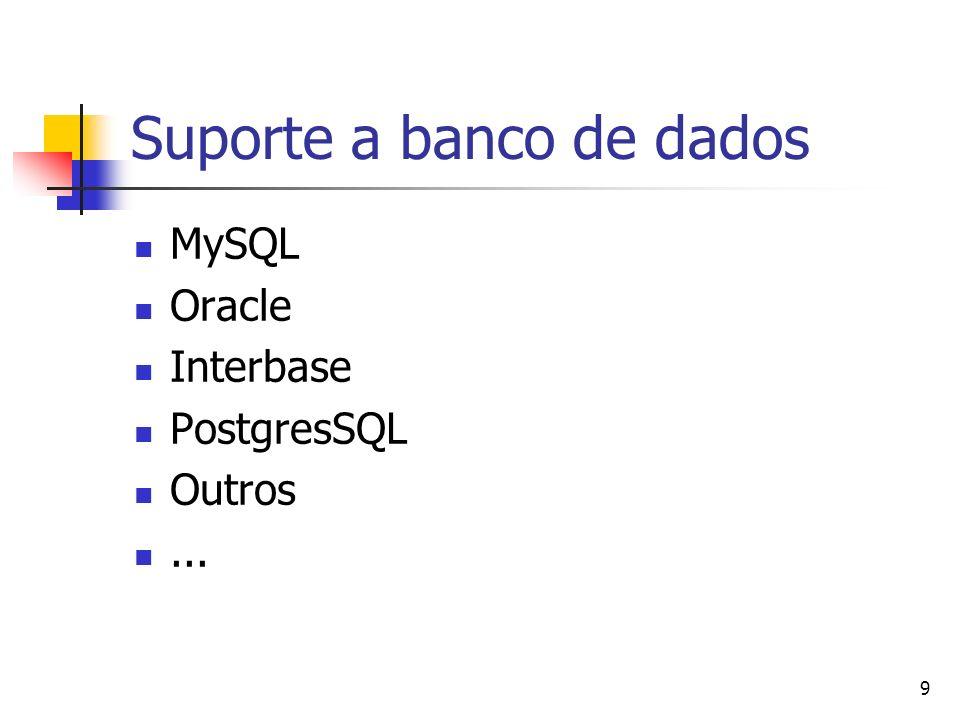 9 Suporte a banco de dados MySQL Oracle Interbase PostgresSQL Outros...