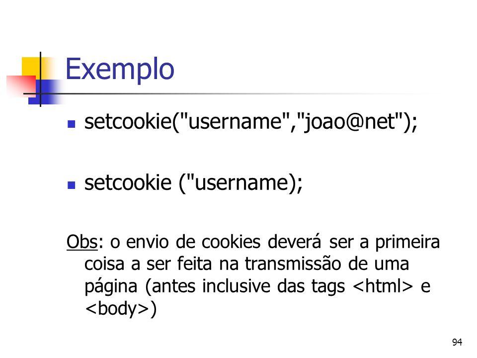 94 Exemplo setcookie(