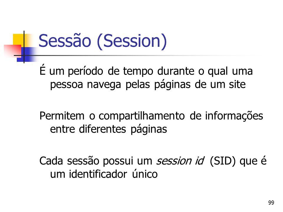 99 Sessão (Session) É um período de tempo durante o qual uma pessoa navega pelas páginas de um site Permitem o compartilhamento de informações entre d
