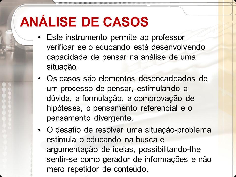 ANÁLISE DE CASOS Este instrumento permite ao professor verificar se o educando está desenvolvendo capacidade de pensar na análise de uma situação. Os