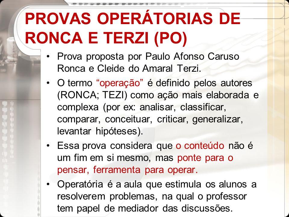 PROVAS OPERÁTORIAS DE RONCA E TERZI (PO) Prova proposta por Paulo Afonso Caruso Ronca e Cleide do Amaral Terzi. O termo operação é definido pelos auto