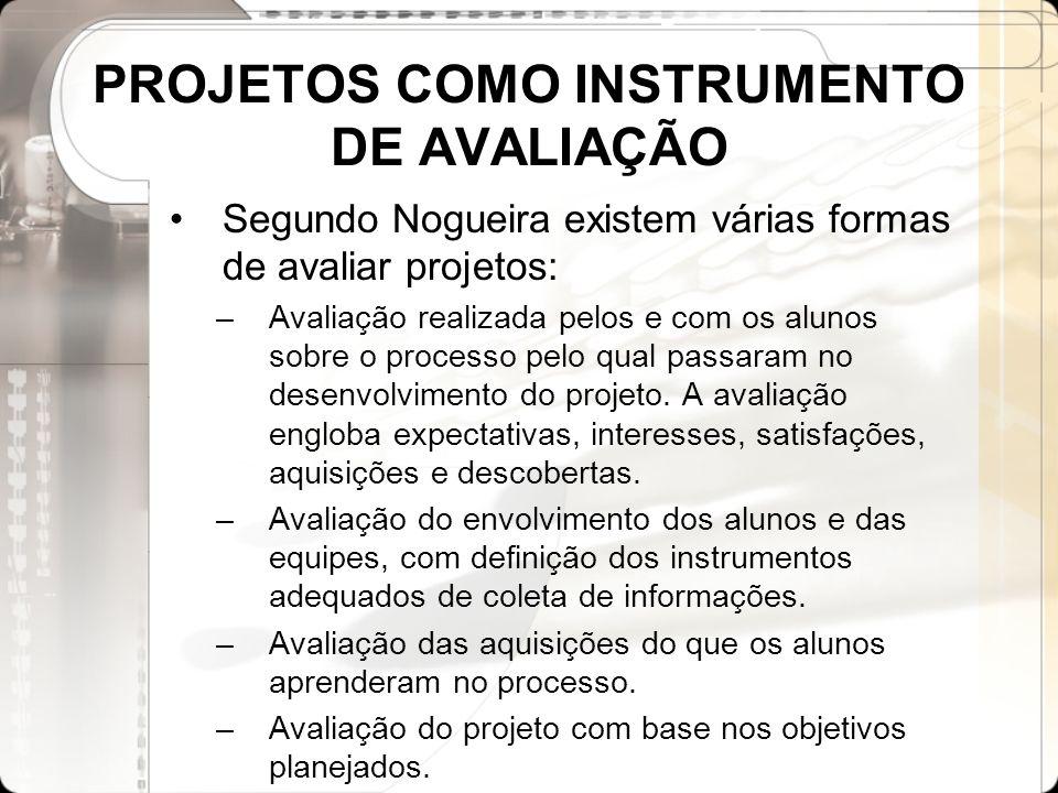 PROJETOS COMO INSTRUMENTO DE AVALIAÇÃO Segundo Nogueira existem várias formas de avaliar projetos: –Avaliação realizada pelos e com os alunos sobre o
