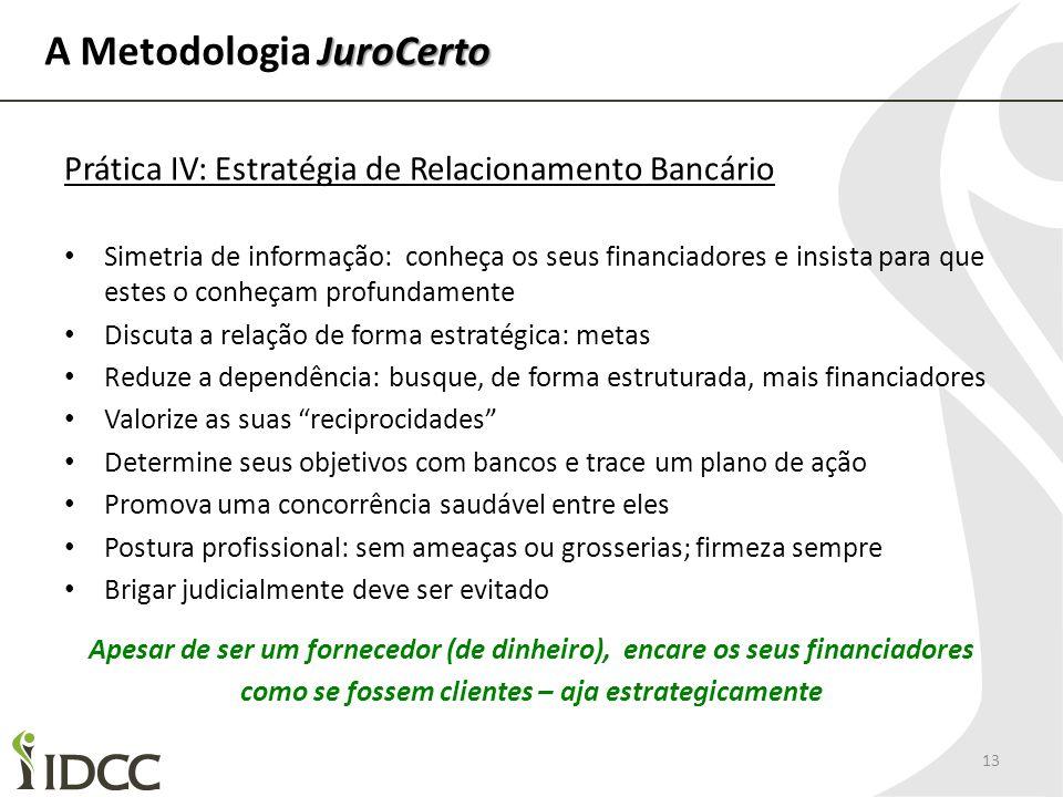 JuroCerto A Metodologia JuroCerto 13 Prática IV: Estratégia de Relacionamento Bancário Simetria de informação: conheça os seus financiadores e insista