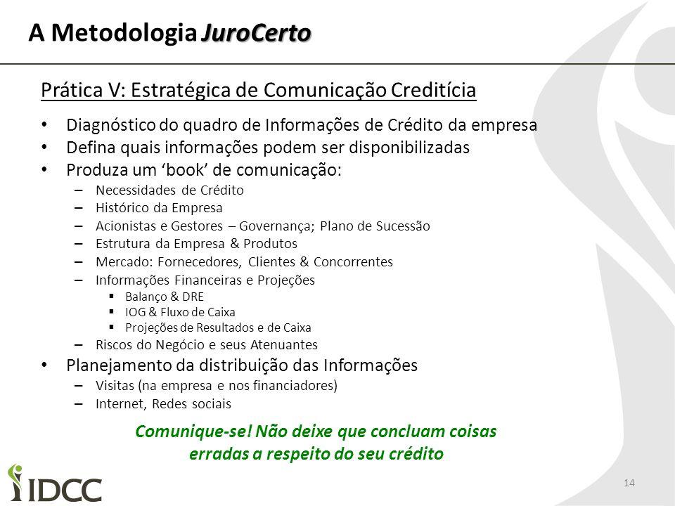 JuroCerto A Metodologia JuroCerto 14 Prática V: Estratégica de Comunicação Creditícia Diagnóstico do quadro de Informações de Crédito da empresa Defin