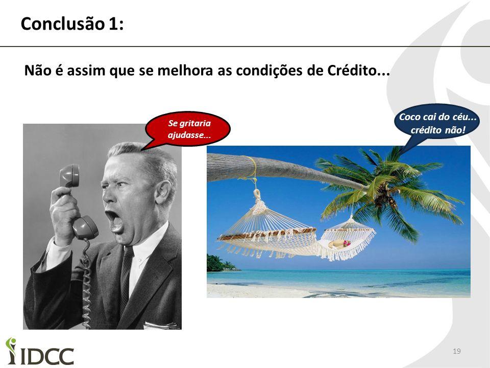 Conclusão 1: 19 Coco cai do céu... crédito não! Se gritaria ajudasse... Não é assim que se melhora as condições de Crédito...