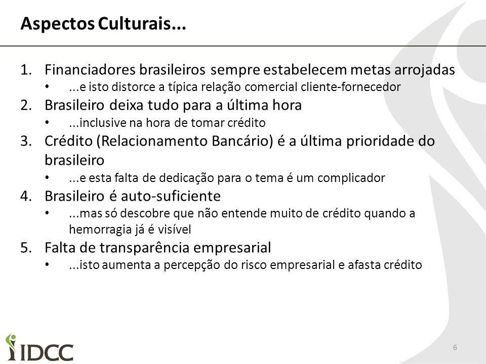 Aspectos Culturais... 6 1.Financiadores brasileiros sempre estabelecem metas arrojadas...e isto distorce a típica relação comercial cliente-fornecedor