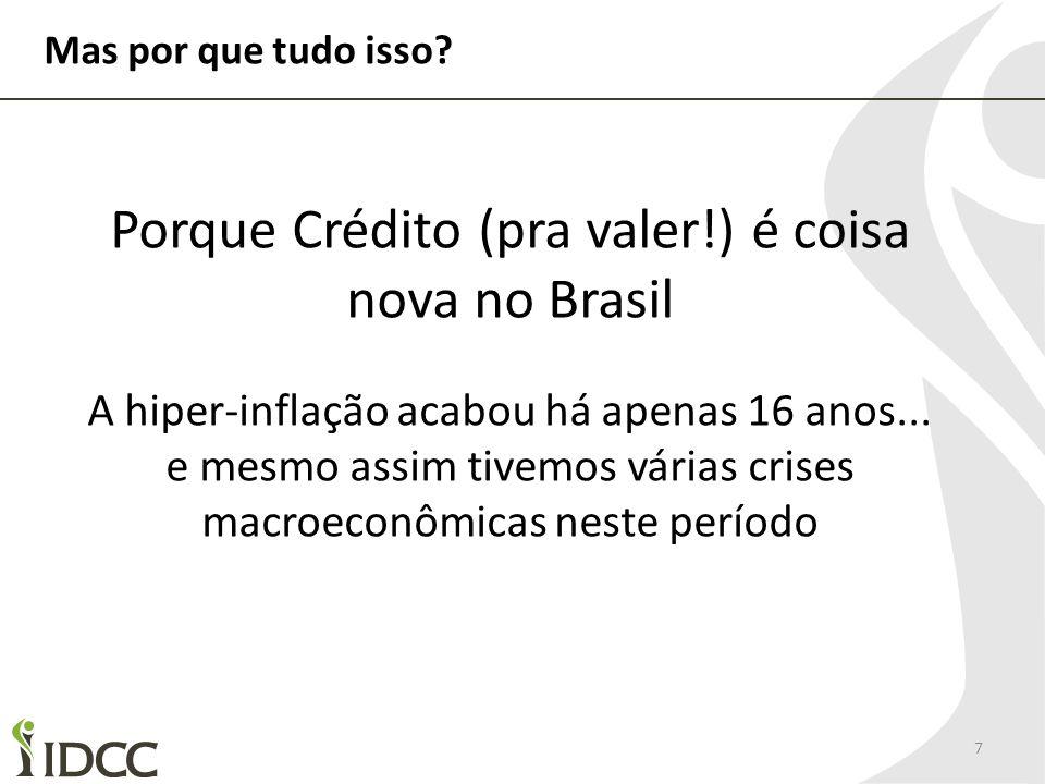 Mas por que tudo isso? 7 Porque Crédito (pra valer!) é coisa nova no Brasil A hiper-inflação acabou há apenas 16 anos... e mesmo assim tivemos várias