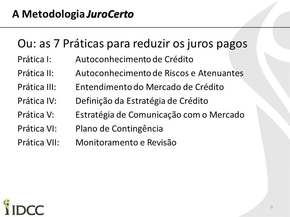 JuroCerto A Metodologia JuroCerto 9 Ou: as 7 Práticas para reduzir os juros pagos Prática I: Autoconhecimento de Crédito Prática II: Autoconhecimento