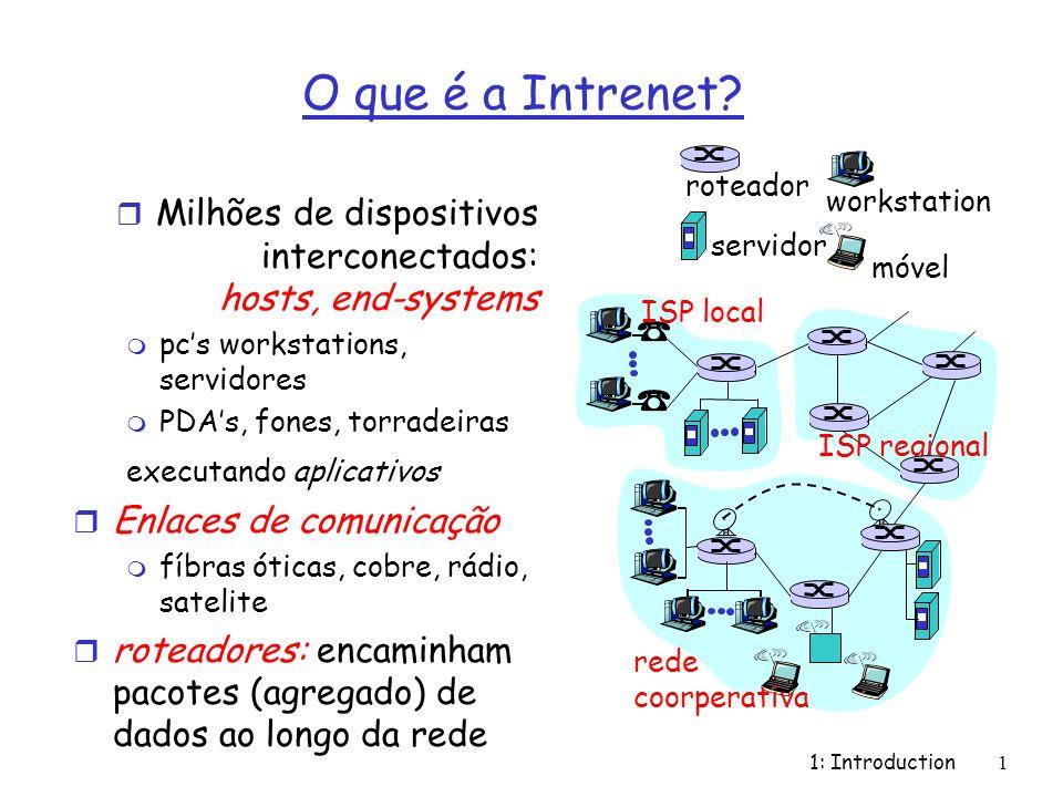 1: Introduction1 O que é a Intrenet? r Milhões de dispositivos interconectados: hosts, end-systems m pcs workstations, servidores m PDAs, fones, torra