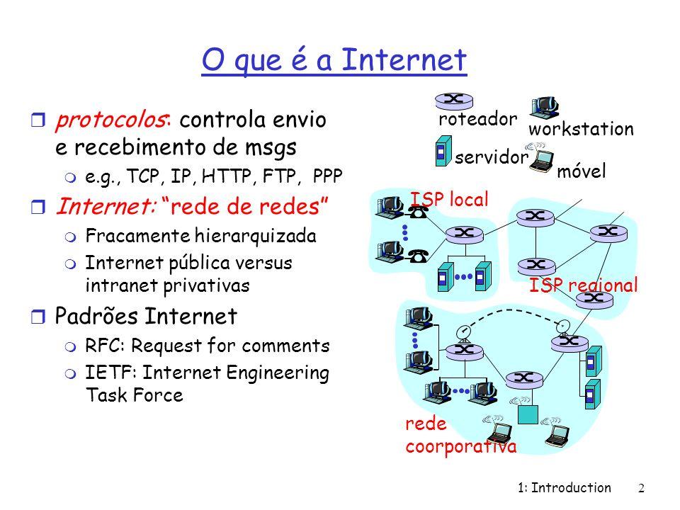 1: Introduction2 O que é a Internet r protocolos: controla envio e recebimento de msgs m e.g., TCP, IP, HTTP, FTP, PPP r Internet: rede de redes m Fra