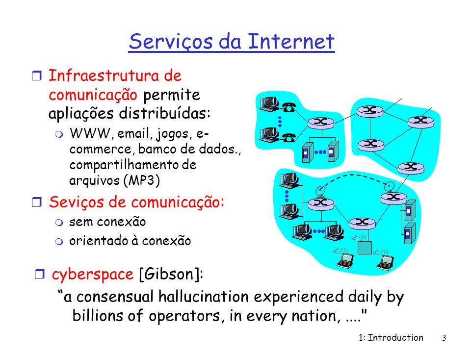 1: Introduction3 Serviços da Internet r Infraestrutura de comunicação permite apliações distribuídas: m WWW, email, jogos, e- commerce, bamco de dados