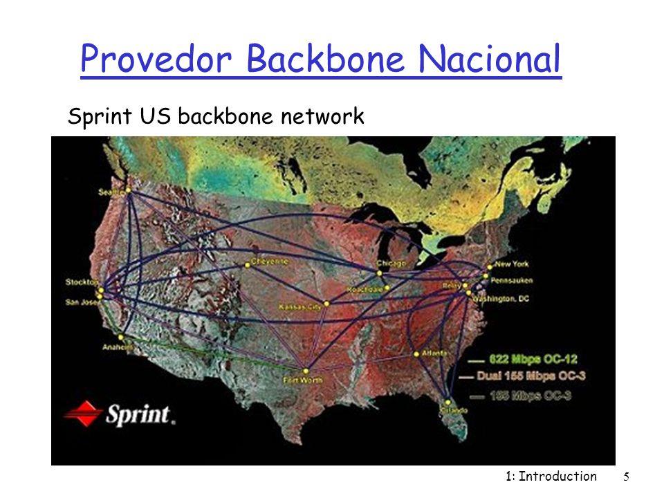 1: Introduction6 História da Internet r 1961: Kleinrock - Teoria das Filas demonstra efetividade de packet switching r 1964: Baran - packet- switching em redes militares r 1967: ARPAnet r 1969: primrira rede operacional r 1972: m Demosntração pública da ARPAnet m NCP (Network Control Protocol) - primeiro protocolo host-host m primeiro programa de e- mail m ARPAnet com 15 nós 1961-1972: Primórdios dos Princípios de redes ppacket-switching