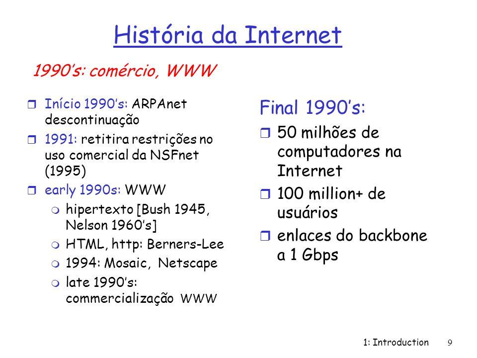 1: Introduction9 História da Internet r Início 1990s: ARPAnet descontinuação r 1991: retitira restrições no uso comercial da NSFnet (1995) r early 199