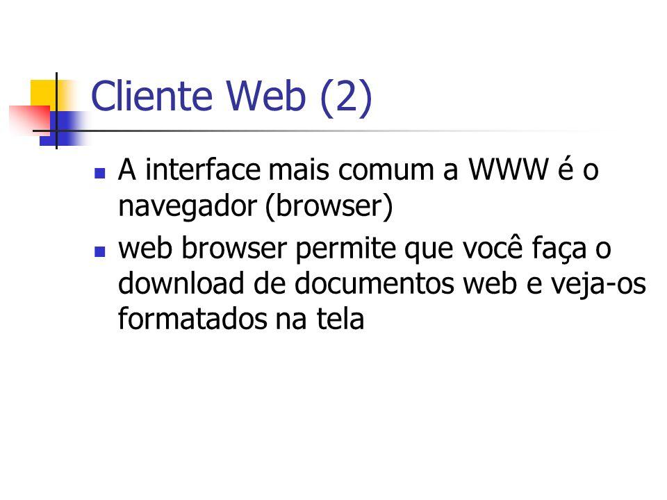 Cliente Web (2) A interface mais comum a WWW é o navegador (browser) web browser permite que você faça o download de documentos web e veja-os formatad