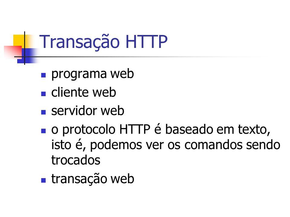 Transação HTTP programa web cliente web servidor web o protocolo HTTP é baseado em texto, isto é, podemos ver os comandos sendo trocados transação web