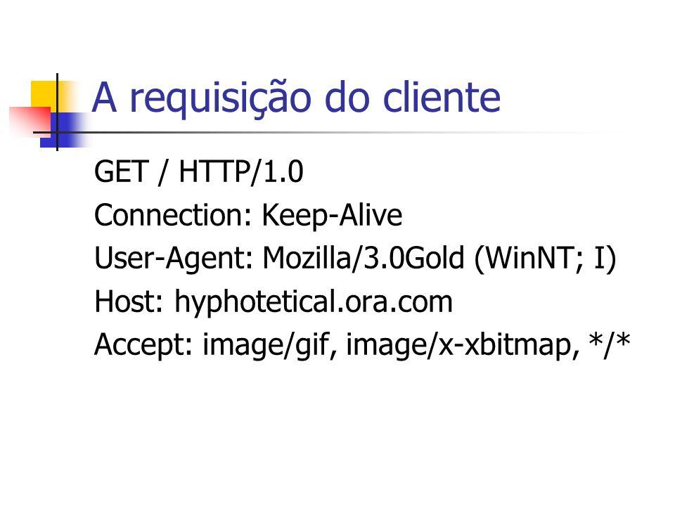 A requisição do cliente GET / HTTP/1.0 Connection: Keep-Alive User-Agent: Mozilla/3.0Gold (WinNT; I) Host: hyphotetical.ora.com Accept: image/gif, ima