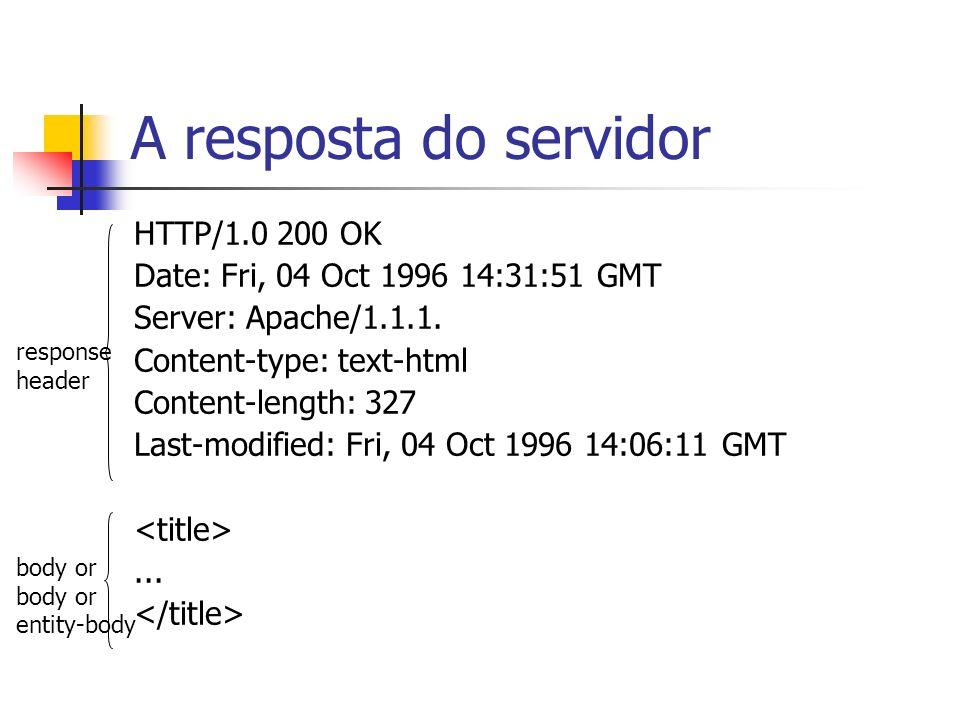 A resposta do servidor HTTP/1.0 200 OK Date: Fri, 04 Oct 1996 14:31:51 GMT Server: Apache/1.1.1. Content-type: text-html Content-length: 327 Last-modi