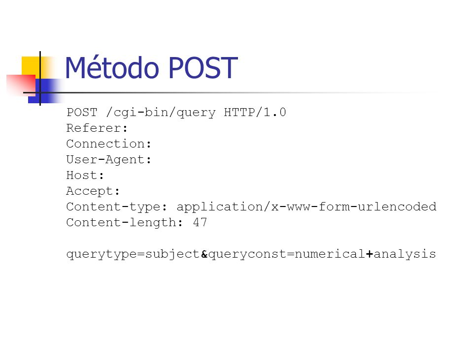 Método POST POST /cgi-bin/query HTTP/1.0 Referer: Connection: User-Agent: Host: Accept: Content-type: application/x-www-form-urlencoded Content-length