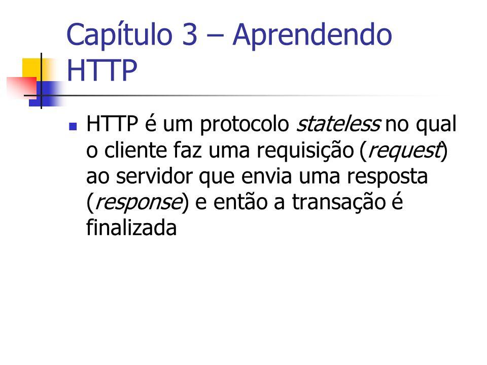 Capítulo 3 – Aprendendo HTTP HTTP é um protocolo stateless no qual o cliente faz uma requisição (request) ao servidor que envia uma resposta (response