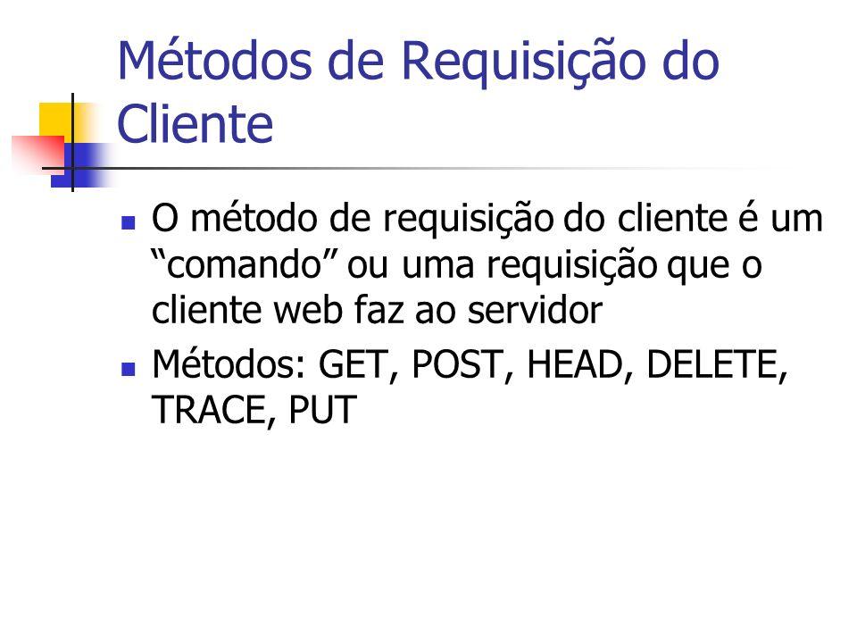 Métodos de Requisição do Cliente O método de requisição do cliente é um comando ou uma requisição que o cliente web faz ao servidor Métodos: GET, POST