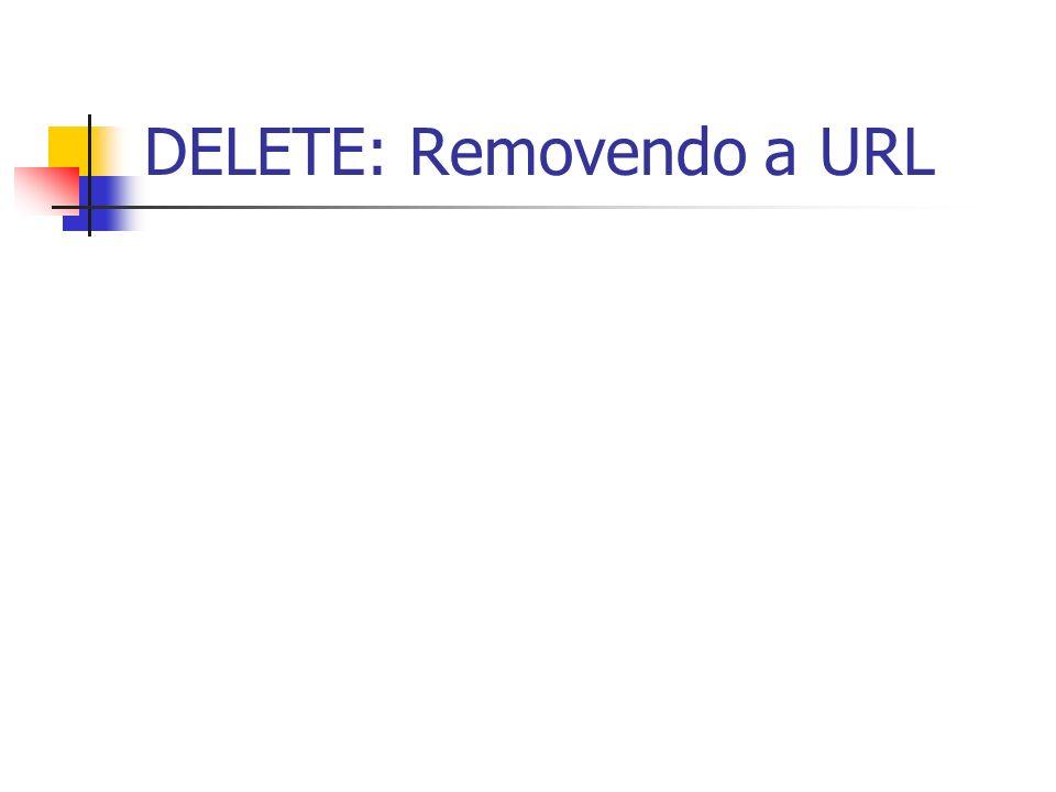 DELETE: Removendo a URL
