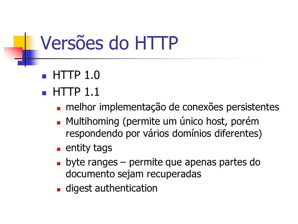 Versões do HTTP HTTP 1.0 HTTP 1.1 melhor implementação de conexões persistentes Multihoming (permite um único host, porém respondendo por vários domín