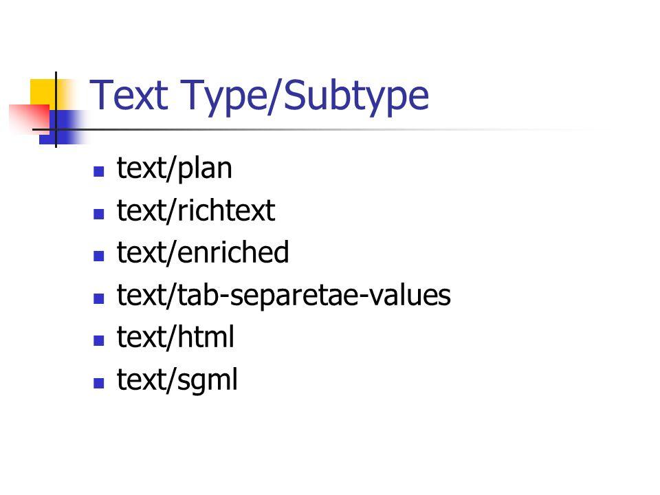 Text Type/Subtype text/plan text/richtext text/enriched text/tab-separetae-values text/html text/sgml
