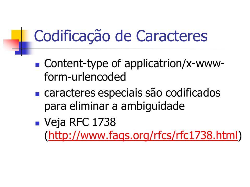 Codificação de Caracteres Content-type of applicatrion/x-www- form-urlencoded caracteres especiais são codificados para eliminar a ambiguidade Veja RF