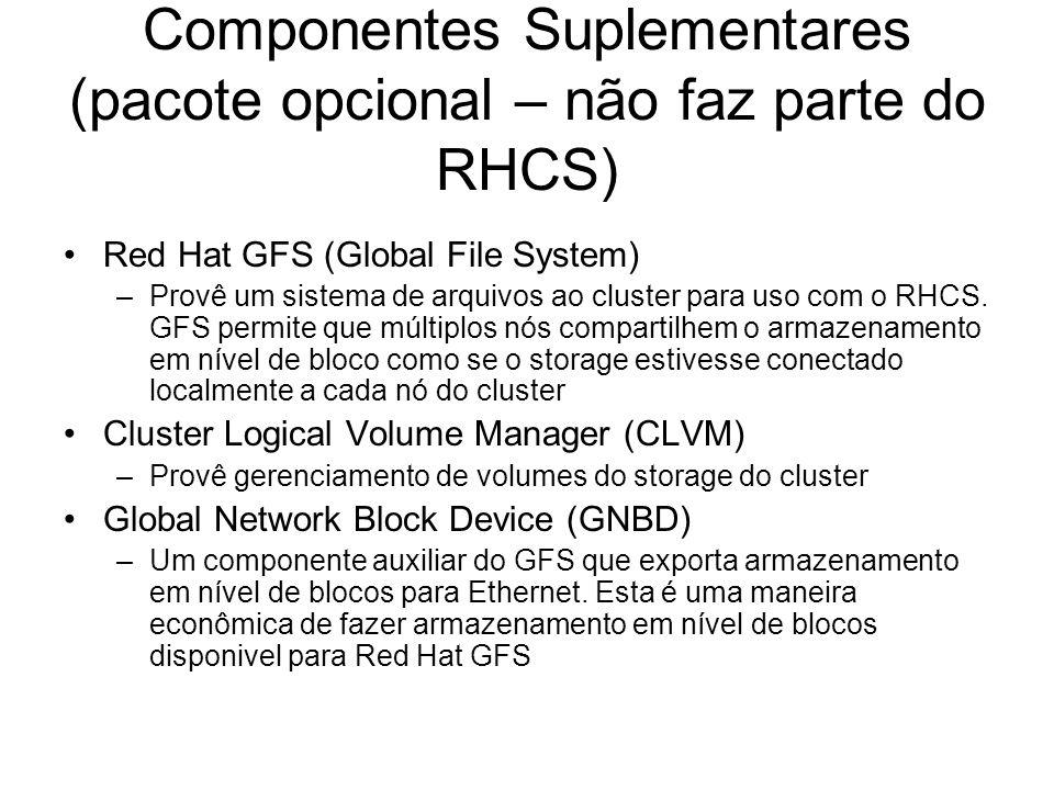 Infra-estrutura de Cluster A infra-estrutura de cluster faz as seguintes funções: –Gerenciamento do Cluster –Gerenciamento de Lock –Fencing –Gerenciamento da configuração do Cluster