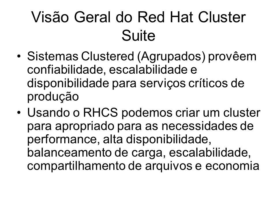Visão Geral do Red Hat Cluster Suite Sistemas Clustered (Agrupados) provêem confiabilidade, escalabilidade e disponibilidade para serviços críticos de