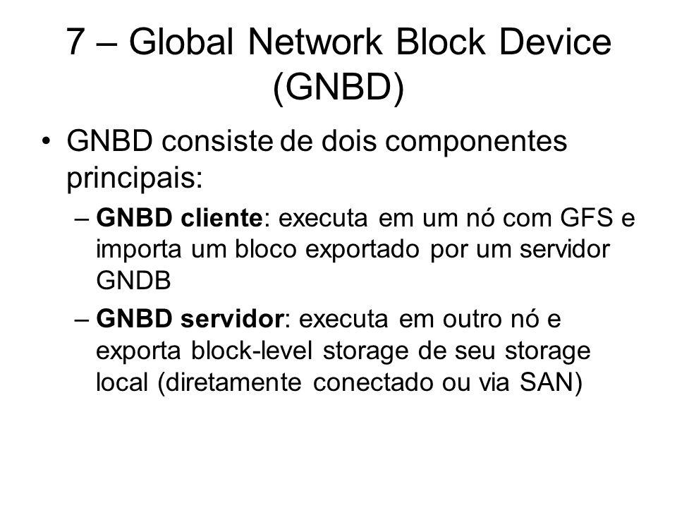 Global Network Block Device Múltiplos clientes GNDB podem acessar um dispositivo exportado por um servidor GNDB, fazendo o GNDB apropriado ao uso por um grupo de nós rodando GFS
