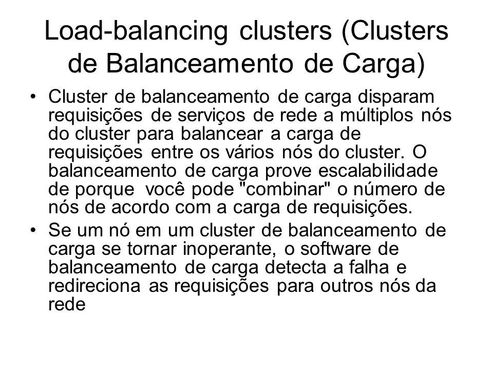 High-performance Cluster (HPC) Usa os nós do cluster para fazer cálculos concorrentes.