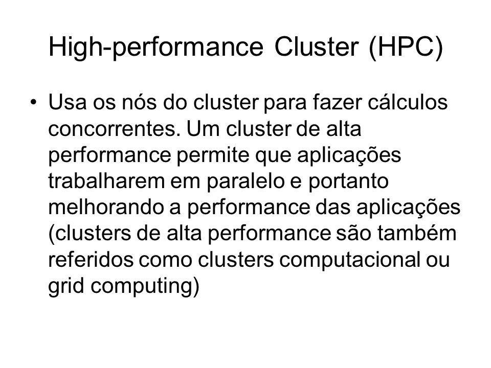 High-performance Cluster (HPC) Usa os nós do cluster para fazer cálculos concorrentes. Um cluster de alta performance permite que aplicações trabalhar