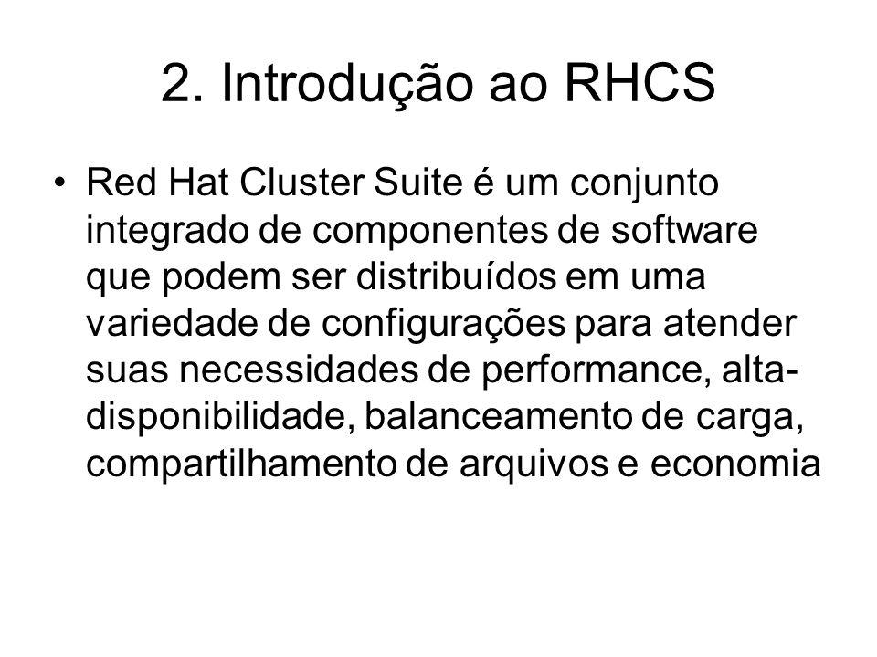 Componentes Infra-estrutura de Cluster –Provês funções básicas para que os nós trabalhem juntos como um cluster: gerenciamento de configuração de arquivos, gerenciamento de associados, gerenciamento de locks e fencing Gerenciamento de Serviços de Alta-Disponibilidade (High-availability Service Management) –Provê serviços de failover de um nó a outro nó do cluster em caso do primeiro nós ficar inoperante Ferramentas de Administração do Cluster (Cluster administration tools) –Ferramentas de gerenciamento e configuração para estabelecer, configurar e gerenciar um cluster Red Hat.