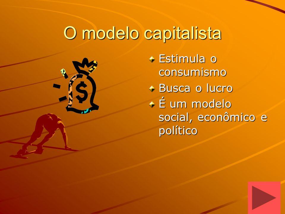 O modelo capitalista Estimula o consumismo Busca o lucro É um modelo social, econômico e político