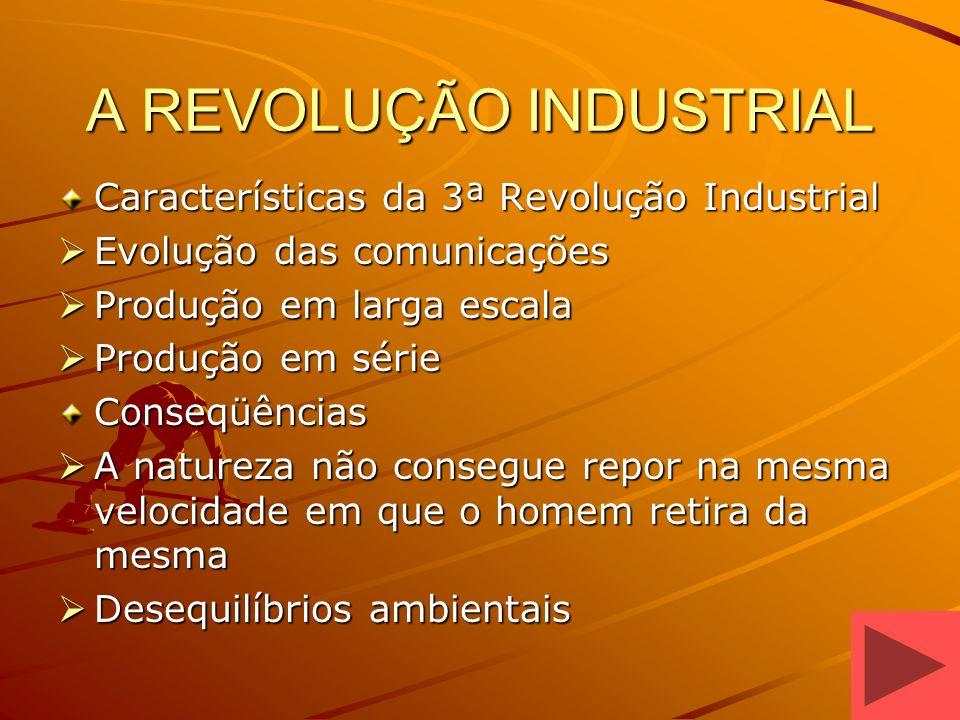 A REVOLUÇÃO INDUSTRIAL Características da 3ª Revolução Industrial Evolução das comunicações Evolução das comunicações Produção em larga escala Produçã