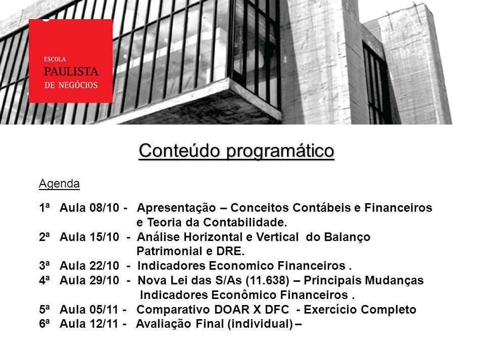 Conteúdo programático Agenda 1ª Aula 08/10 - Apresentação – Conceitos Contábeis e Financeiros e Teoria da Contabilidade. 2ª Aula 15/10 - Análise Horiz