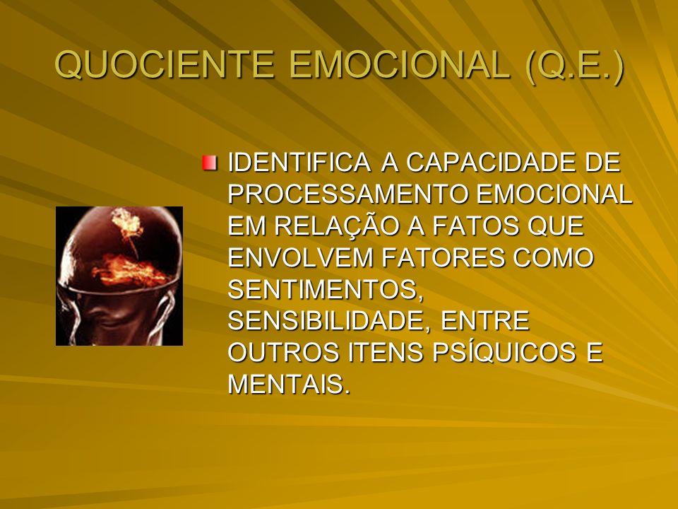 QUOCIENTE EMOCIONAL (Q.E.) IDENTIFICA A CAPACIDADE DE PROCESSAMENTO EMOCIONAL EM RELAÇÃO A FATOS QUE ENVOLVEM FATORES COMO SENTIMENTOS, SENSIBILIDADE,