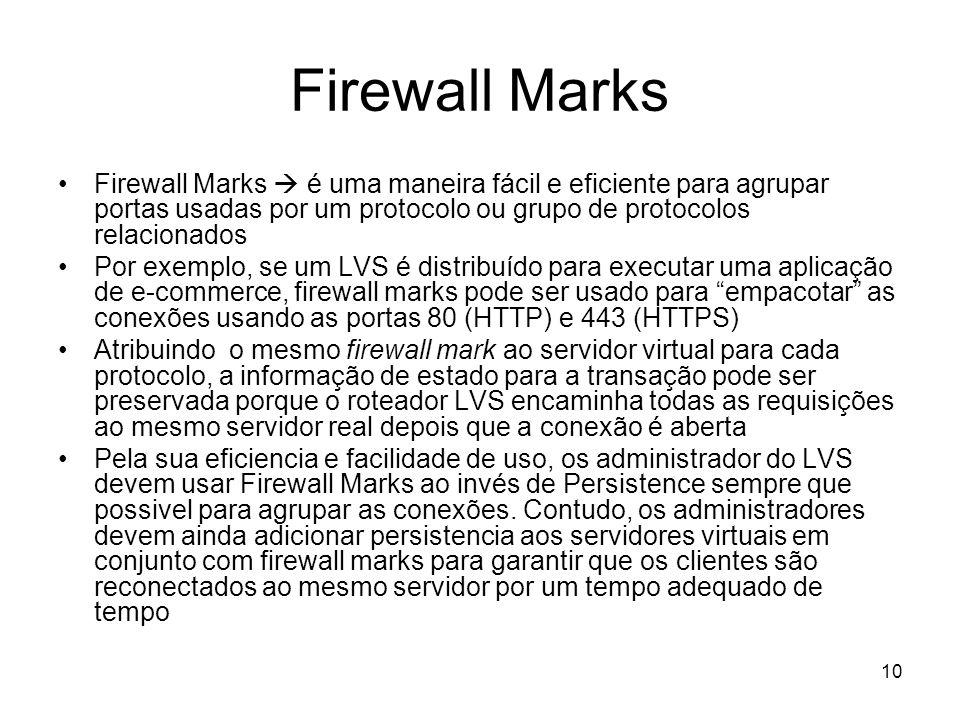 10 Firewall Marks Firewall Marks é uma maneira fácil e eficiente para agrupar portas usadas por um protocolo ou grupo de protocolos relacionados Por e