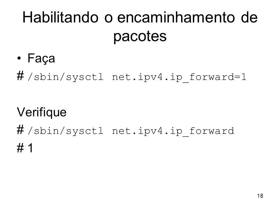 18 Habilitando o encaminhamento de pacotes Faça # /sbin/sysctl net.ipv4.ip_forward=1 Verifique # /sbin/sysctl net.ipv4.ip_forward # 1