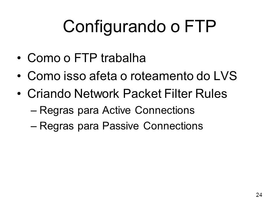 24 Configurando o FTP Como o FTP trabalha Como isso afeta o roteamento do LVS Criando Network Packet Filter Rules –Regras para Active Connections –Reg