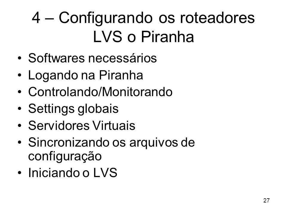 27 4 – Configurando os roteadores LVS o Piranha Softwares necessários Logando na Piranha Controlando/Monitorando Settings globais Servidores Virtuais