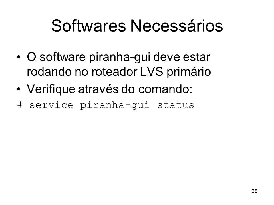 28 Softwares Necessários O software piranha-gui deve estar rodando no roteador LVS primário Verifique através do comando: # service piranha-gui status